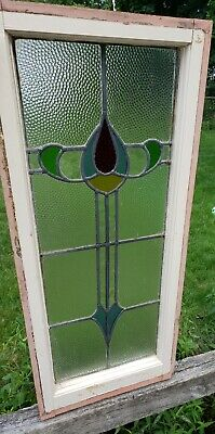 "ANTIQUE ~ LEADED ~ SLAG ~ STAINED GLASS WINDOW ~ 37"" h X 15.25"" w"