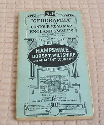 No 9 Geographia Contour Road Map England And Wales 1920