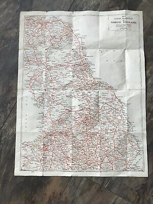 vintage Clear road map of North England. No4. Geographia Ltd. Inc Truck Roads