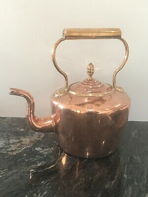 """antique copper and brass kettle wood gas STOVE TOP tinned Large 11"""" 1.5 kg"""