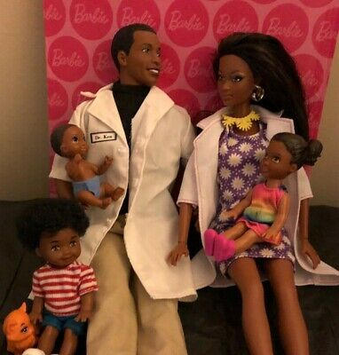 Mattel beautiful Black Dr Ken, Doctor Barbie, Tommy, Toddler girl & baby dolls