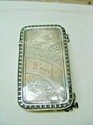 Antique Sterling Silver Card Case-Aesthetic Movement-1870-80-Whiting Mfg. Co