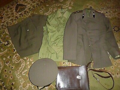 Vintage 1980s Russian Soviet Officer Army USSR Uniform hat document carrier