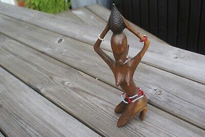 Vintage Carved Wooden Figure Wood Naked Woman Tribal Ornament Hand Carved