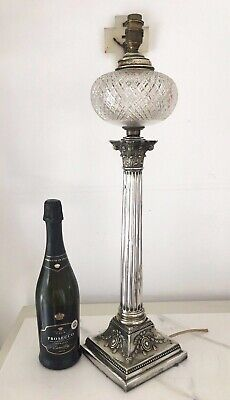 victorian large silver plate and supercut fount oil lamp, table lamp