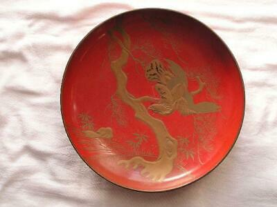 Large antique Japanese lacquer sake cup with birds and flowers ~1888  #4074B
