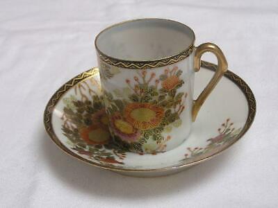 "Antique Japanese Kutani cup and saucer marked ""Nisshin"" 1920s handpainted #C0058"