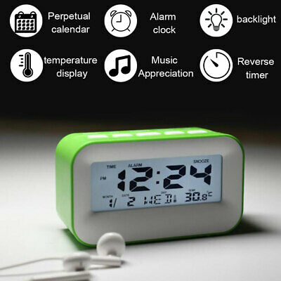 Alarm Clock Digital Backlight Electronic Timing LCD Display Durable Square
