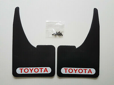 2 NEW TOYOTA Red / White Mudflaps + Fitting Screws  Universal Fit