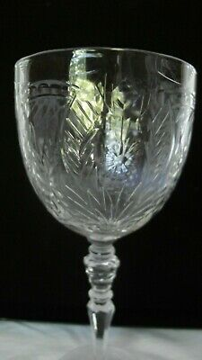 Set Of 2 (TWO) Antique Etched Cut Crystal Water Goblets / Wine Glasses .