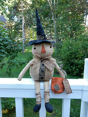 FoLk Art PrimiTive FaLL HaLLoWeen PUMPKIN WiTch DOLL Holiday BaG DecoraTion TaGs