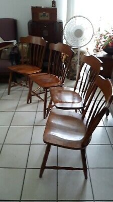 4 Bent Bros. Colonial Ding Chairs,vintage,good Cond.