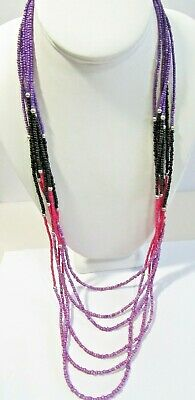 Glass Beaded Necklace Light Dark Purple Black And Pink Silver Tone Spacers