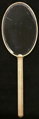 Vintage Elegant 2 Sided Brass Vanity Hand Mirror Gold Tone 12 3/4 Inches Old