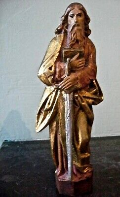 Estate Sale Find: Antique (late 1800's) Hand-Carved Statue St. Paul, signed
