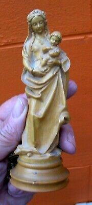 Vintage Small Wooden Statue Of The Madonna & Child