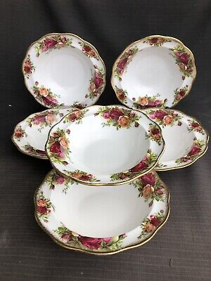ROYAL ALBERT OLD COUNTRY ROSE Set Of Six Fluted And Rimmed Bowls 16 Cm
