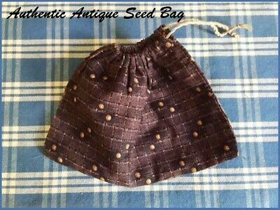 Authentic Antique Seed Ditty Bag Primitive Early Brown Calico Fabric AAFA