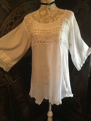 Tall New Look white cheesecloth  Boho Gypsy Summer lace top