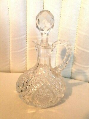 Vintage Crystal Clear Cut Glass Cruet With Stopper Oil Or Vinegar - Elegant!!
