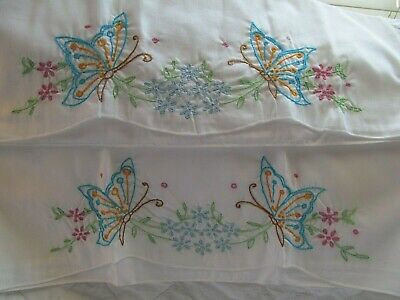 UNUSED Pr Vintage Cotton Pillowcases w Embroidered Butterflies & Asters