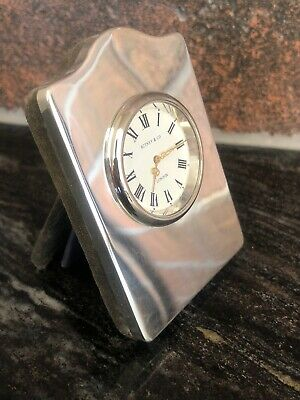 SOLID SILVER CLOCK London 1973 Bedside Or Travel Clock