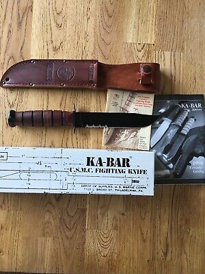 1998 Vintage KA-BAR US Marine Corps Fighting Knife Partially Serrated
