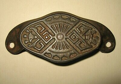 Old Antique Cast Iron Victorian Era Drawer Pull Handle Eastlake 1800s