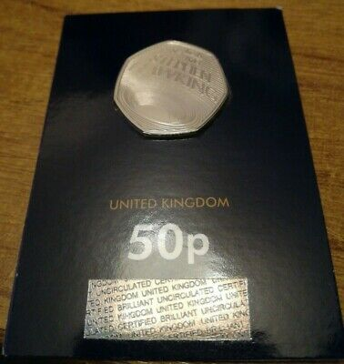 2019 UK Stephen Hawking CERTIFIED Brilliant Uncirculated 50p Coin