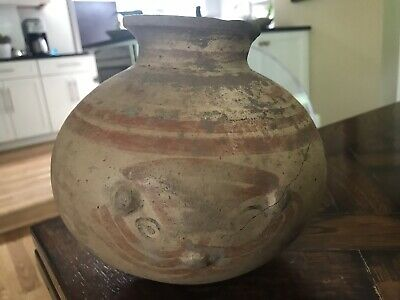 Antique Ancient Pre-Columbian Costa Rican Pottery FACE JAR Pot * Artifact