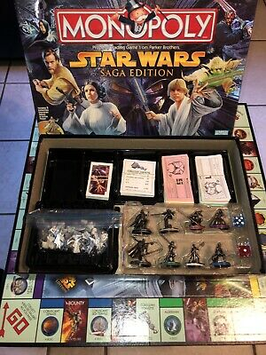 Monopoly STAR WARS Saga Edition (2005 Parker Brothers)  99% COMPLETE! Board Game