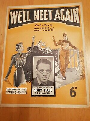 Vintage 1939 We'll Meet Again Sheet Music Henry Hall and his Orchestra