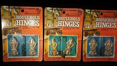 RARE Vintage Homecraft Lot Of 3 Household Hinges Die-Cast NOS Cabinets Chests