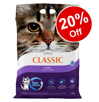 Odour Free Lavender Scented Hard Clumping Fine Grain Classic Cat Litter  20% Off