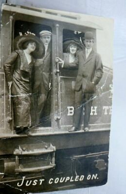 Greetings Just Coupled On Train Railroad Postcard Old Vintage Card View Standard