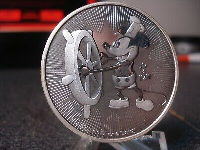 Mickey Mouse Steamboat Willie 2017 NIUE $2 PURE SILVER Coin 1oz round bar