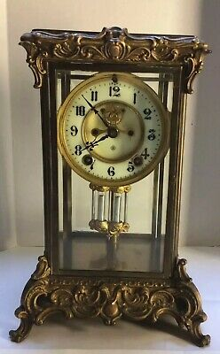 Antique Four Glass Ansonia 1914 Clock With Visible Escapement