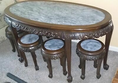 Chinese engraved rosewood and marble table with 4 stools