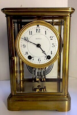 Antique: Seth Thomas Art Deco Bronze Four sided Glass Classic Mantle Clock..