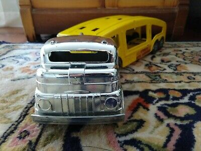 1950's VINTAGE STRUCTO CHROME AUTO TRANSPORT TRUCK TRAILER PRESSED STEEL