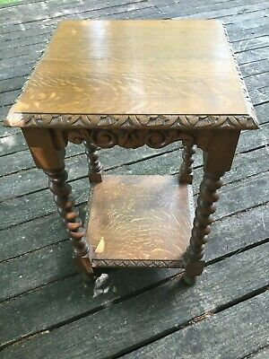 English Antique Victorian Oak Barley Twist Leg Square Top Hand Carved Side Table