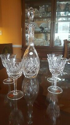 Gorham Crystal Wine Decanter and Four Wine Glasses