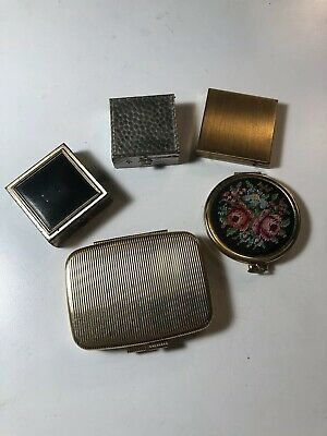 Vintage Compacts Lot Of 5 Square Round Rectangular Pendant
