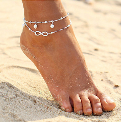 Womens Ankle Bracelet 925 Sterling Silver Anklet Foot Chain Boho Beach Beads UK