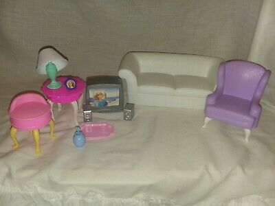 1996 Barbie doll Living Room Furniture vanity stool Folding pretty house LOT