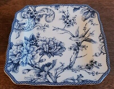 222 Fifth ADELAIDE BLUE & WHITE Square Salad Plate - New