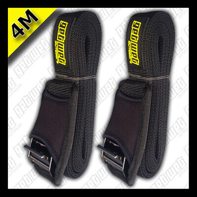 Tie Down Straps 4m With Neoprene Cams, For Kayaks, Sup Boards, Surf Boards Etc