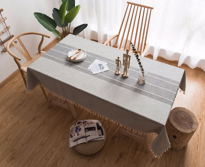 Stitching Tassel Table Cloth Cotton Linen Fabric Dust-Proof Table Cover Gray