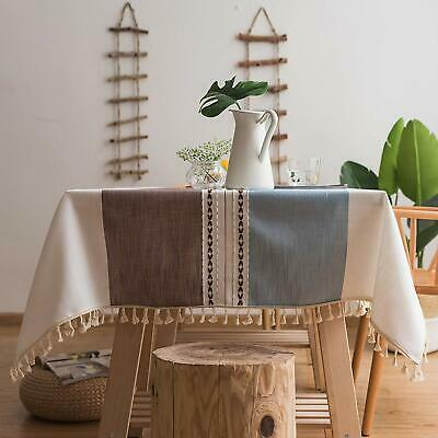 Stitching Tassel Table Cloth Cotton Linen Fabric Dust-Proof Table Cover Blue