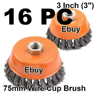 "16 Cup Wire Brush 3"" (75mm) for 4-1/2"" (115mm) Angle Grinder Twist Knot Hoteche"